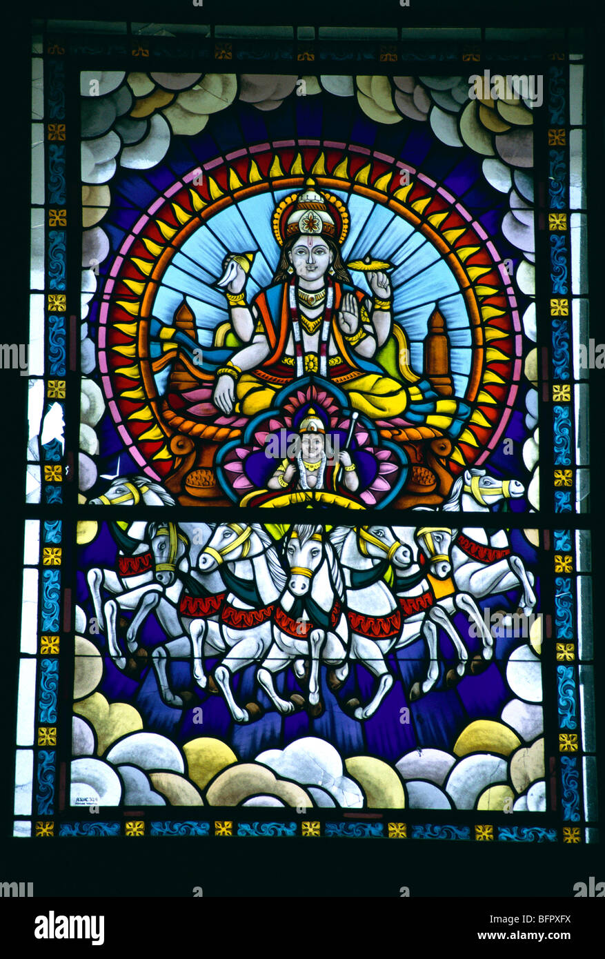 MPC 66662 : Arjun and Krishna on stained glass ; Jaipur ; Rajasthan ; India - Stock Image