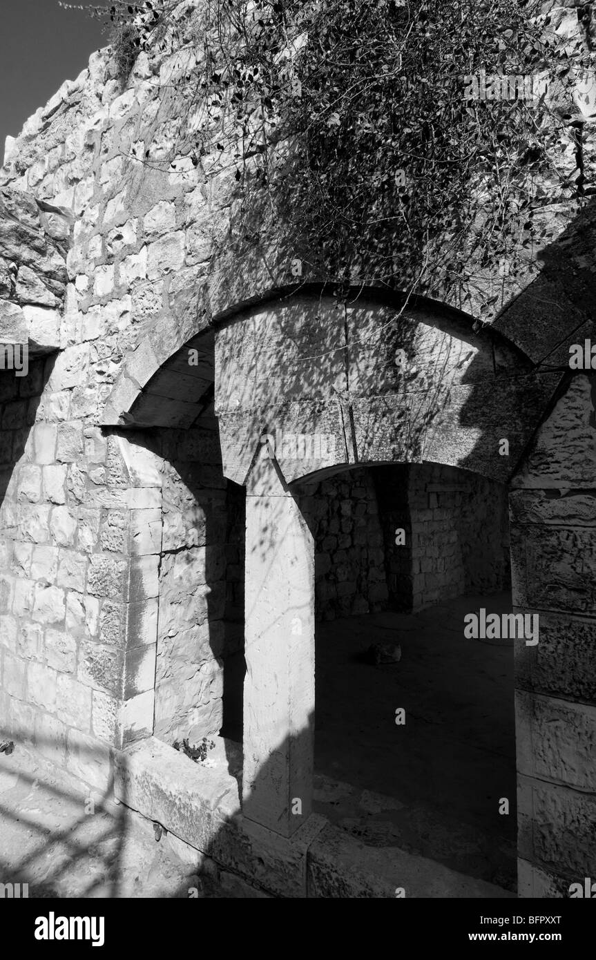 Remains of the Christian Maronite Settlement of Biram and Church ,evacuated in 1948 war of Independence. - Stock Image
