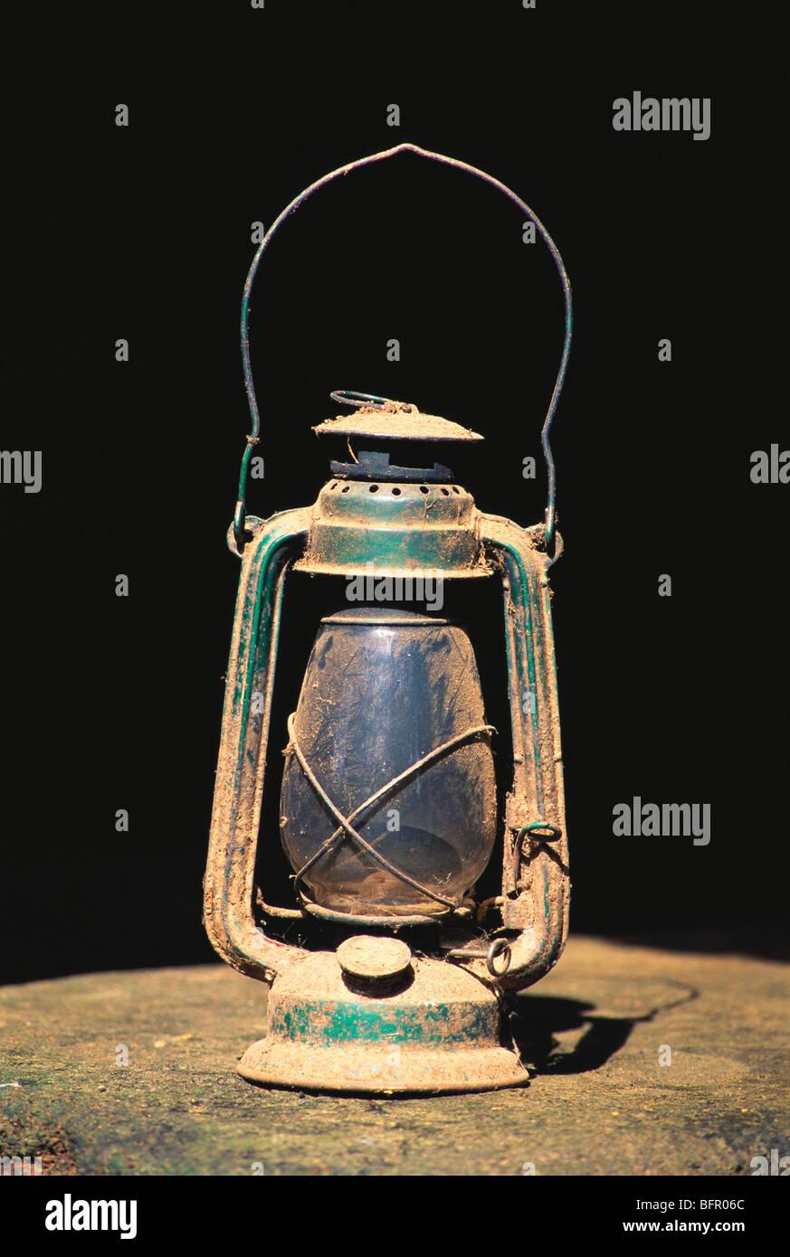 MBT 66980 : Lantern kerosene lamp ; Kudal ; Maharashtra ; India - Stock Image