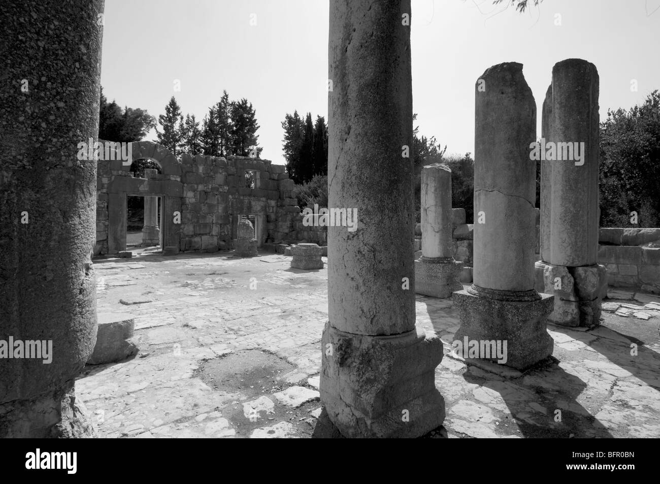 Interior of synagogue at Baram dating from 3rd cent CE in the upper Galilee Israel - Stock Image