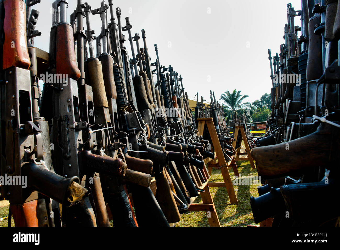 Machine guns that belonged to the demobilized Colombian paramilitary forces (AUC) in Casibare, Meta, Colombia. Stock Photo