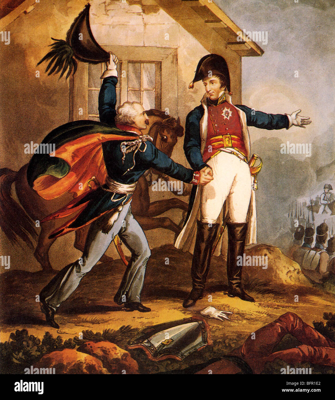 BLUCHER meets the Duke of Wellington at La Belle Alliance inn during the Battle of Waterloo (see Description below) - Stock Image