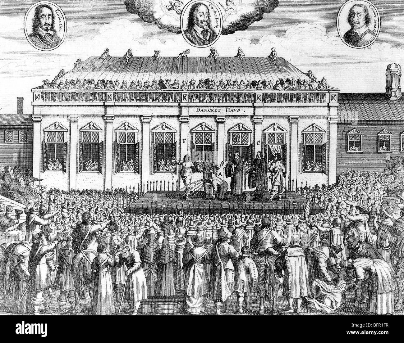 EXECUTION OF CHARLES I in Whitehall on 30 January 1649 from a contemporary  German engaving