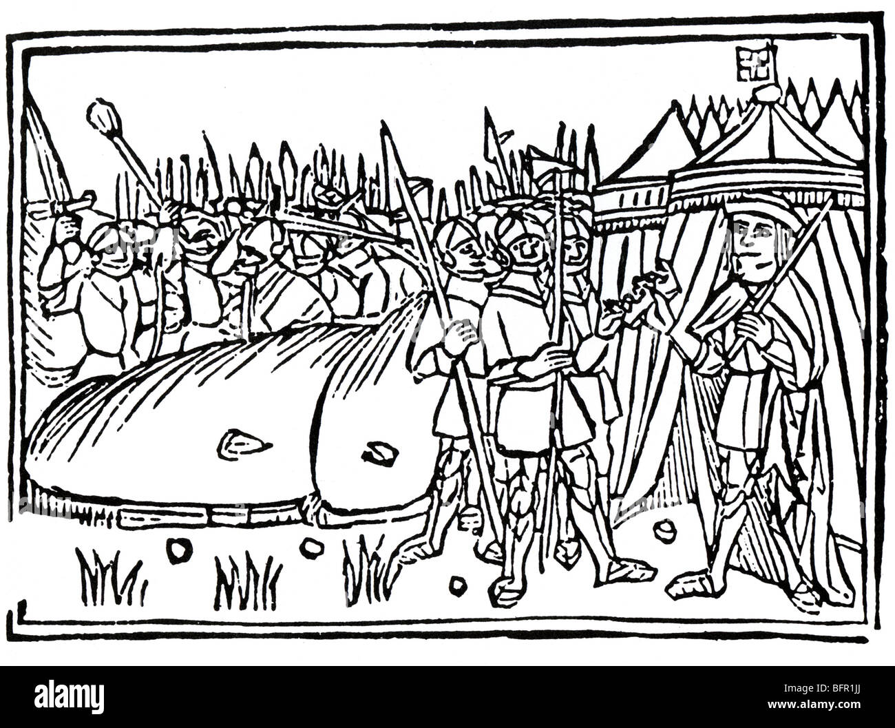 BATTLE OF FLODDEN FIELD 1513- Contemporary illustration shows King James IV ceding his crown after being defeated - Stock Image