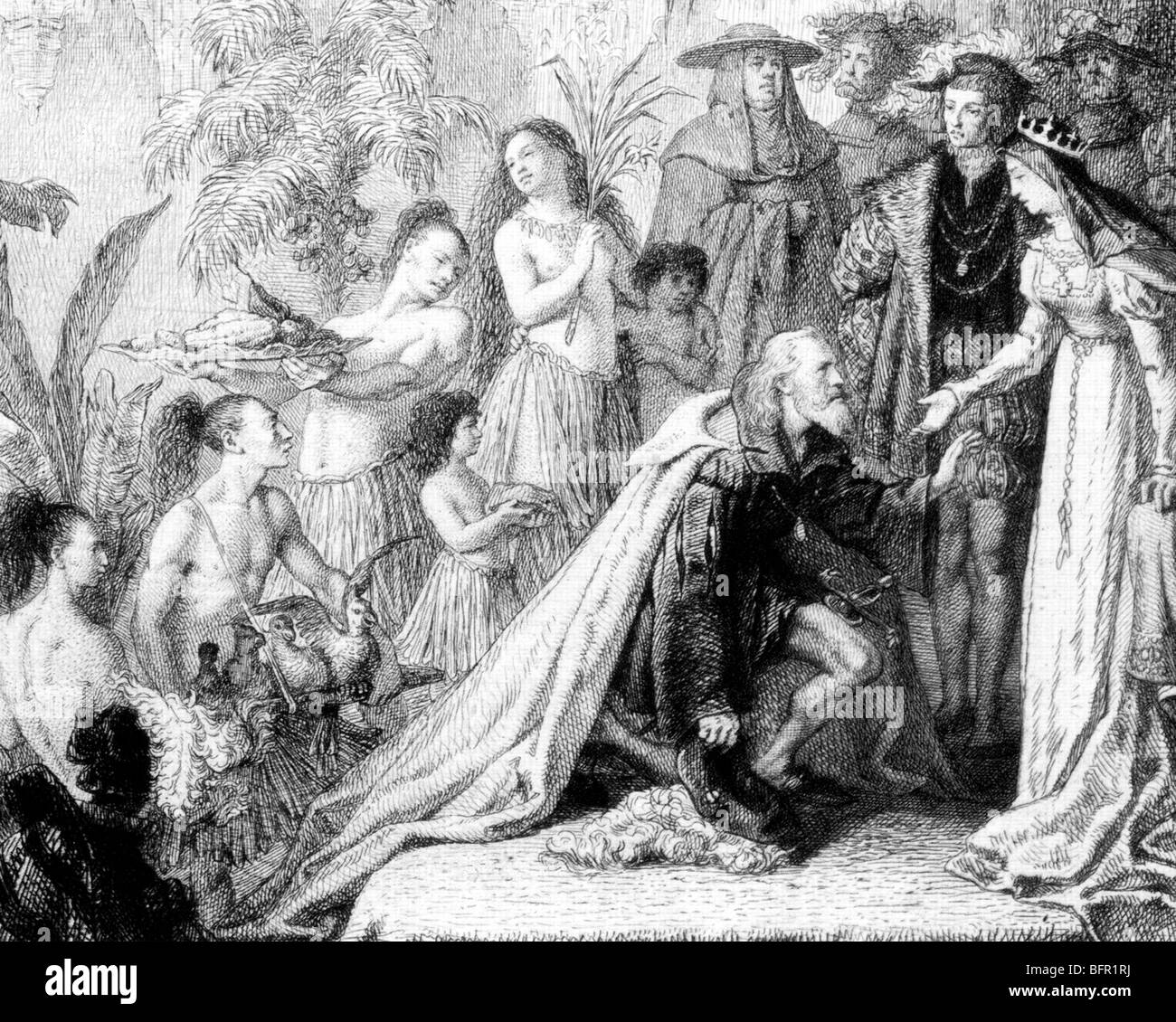 QUEEN ISABELLA  I of Spain (1451-1504) and King Ferdinand receive New World gifts from Columbus Stock Photo