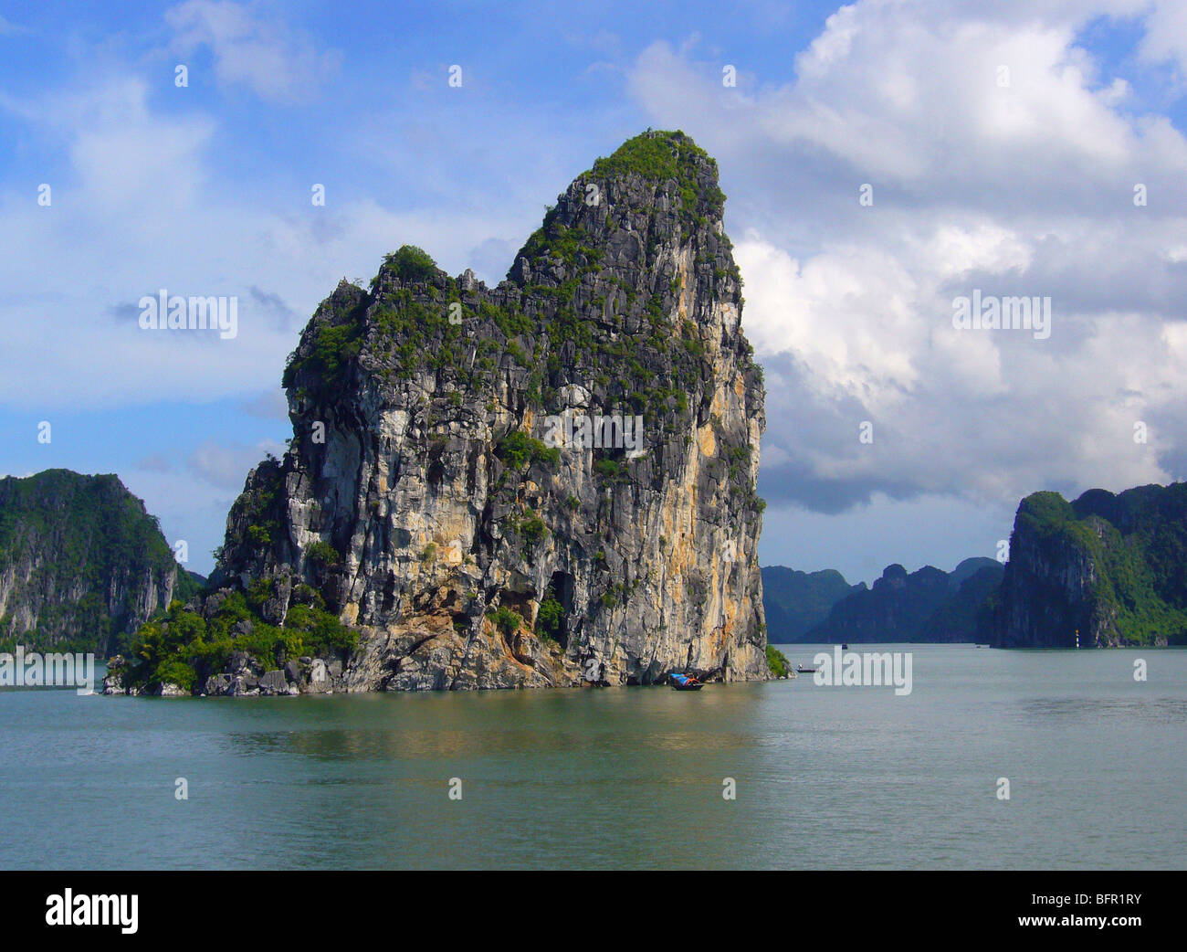 View across Ha Long Bay showing some of the many isles that lie within the bay Stock Photo