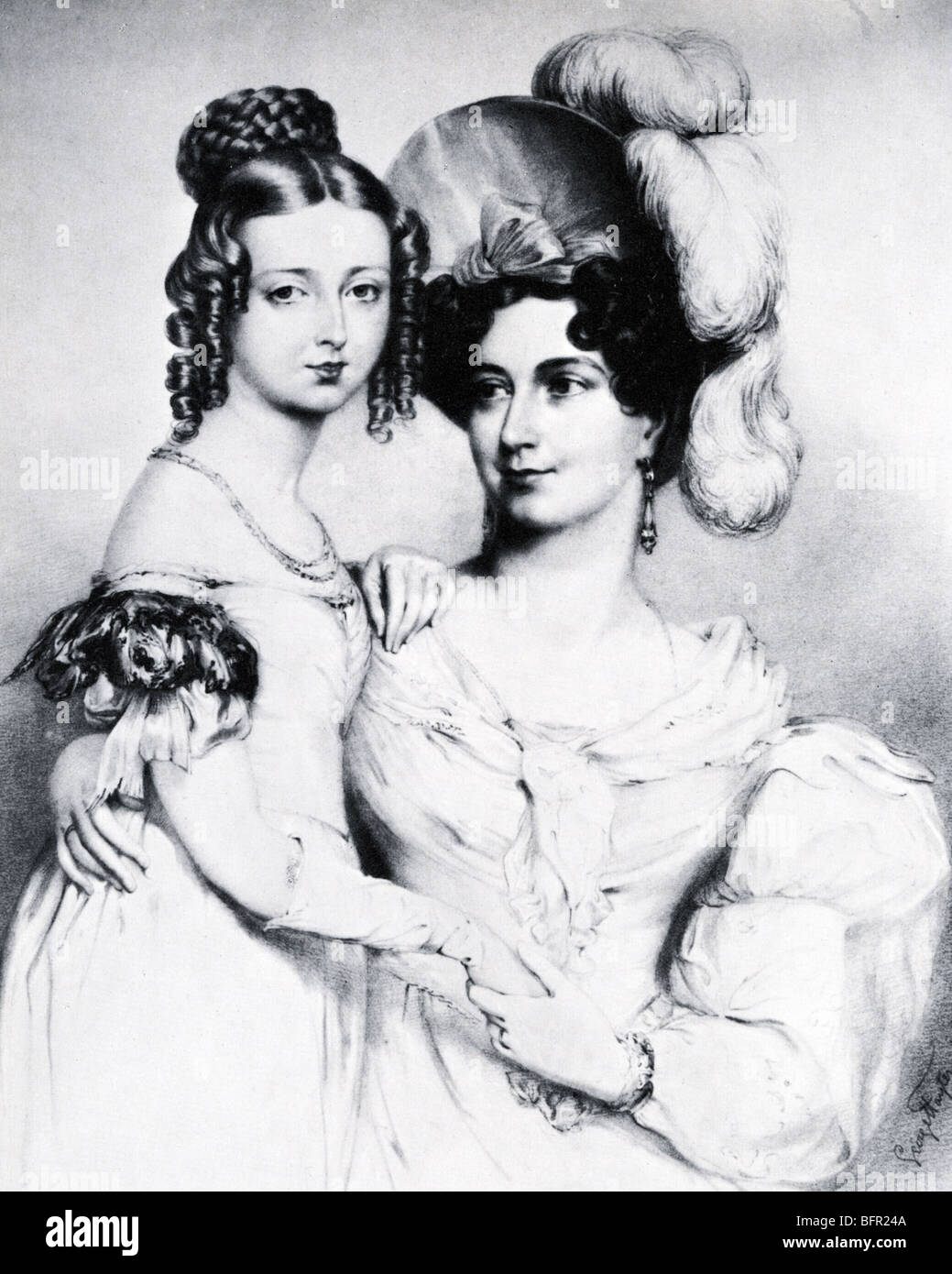 PRINCESS VICTORIA (the future Queen) with the Duchess of Kent in an 1834 engraving by George Hayter - Stock Image