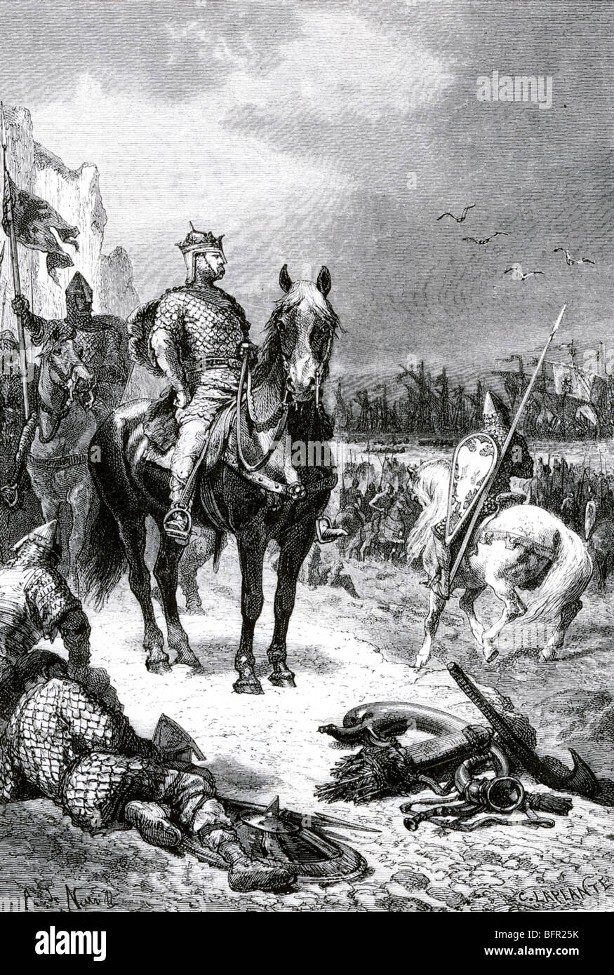 WILLIAM THE CONQUEROR surveys his troops after their landing on the English coast in 1066 in this Victorian engraving - Stock Image