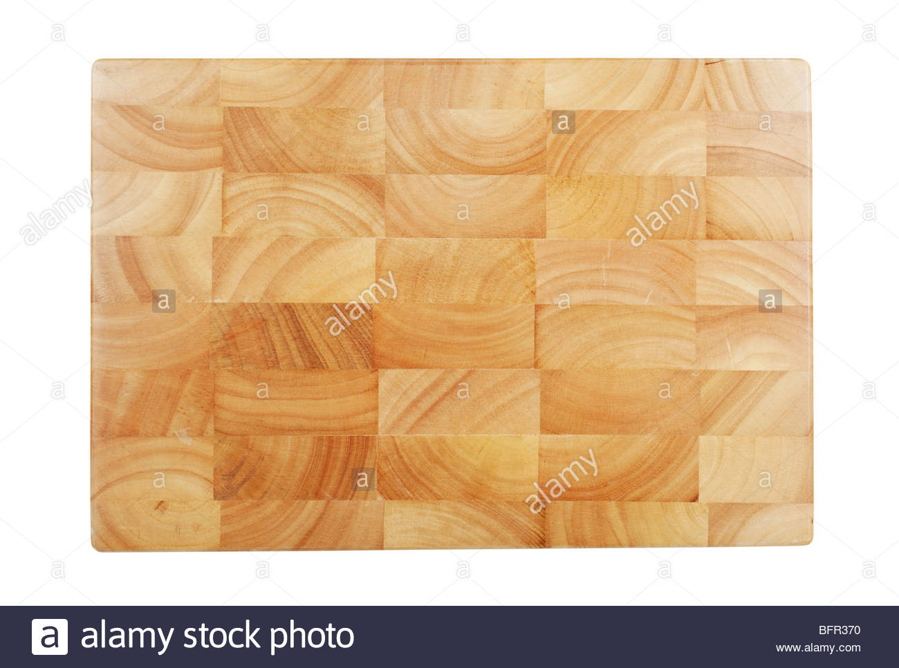 Wooden chopping board isolated on white. - Stock Image
