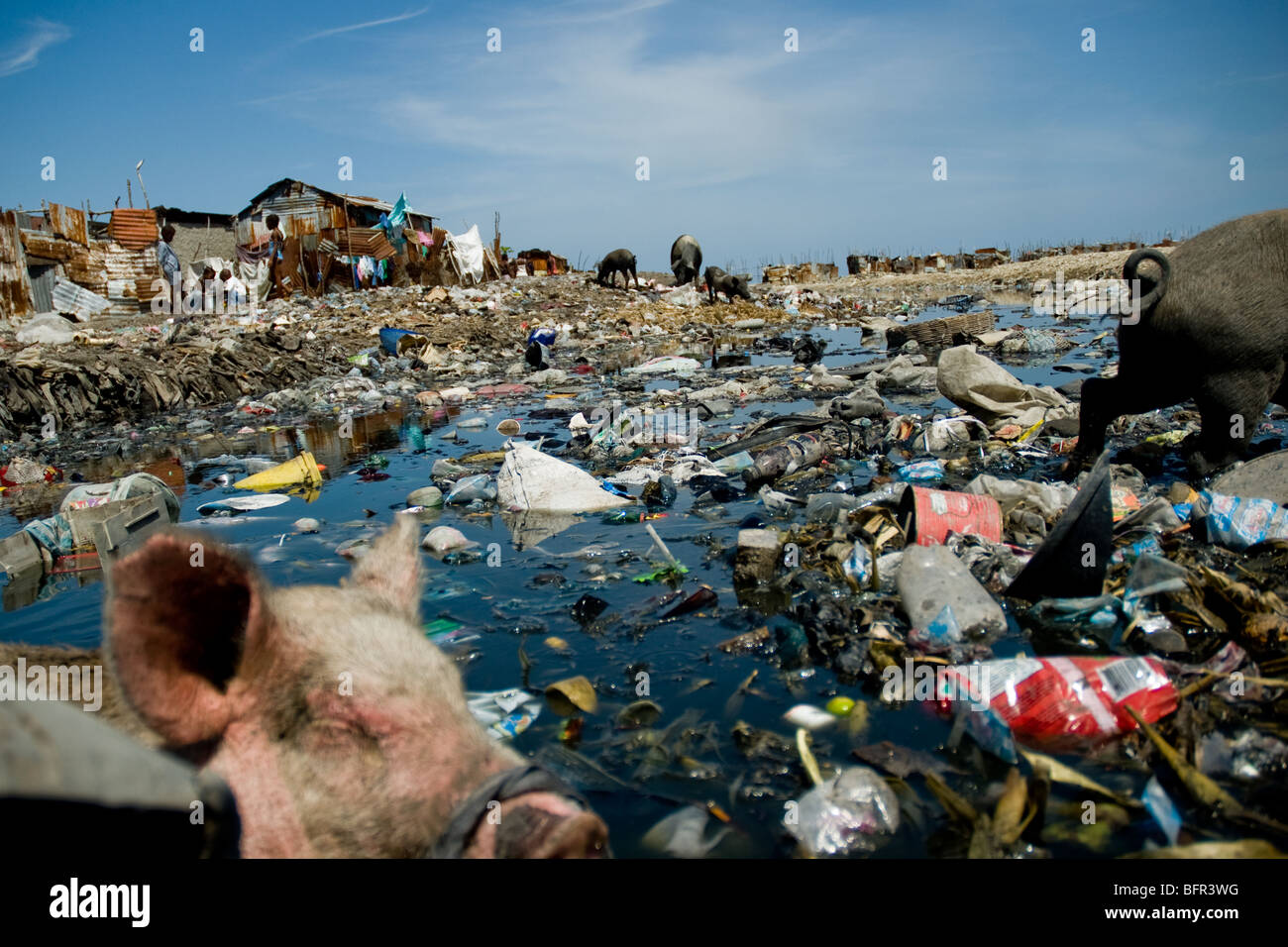 Social and living conditions in Haitian slums like Cite Soleil (Port-au-Prince) are a human tragedy. - Stock Image
