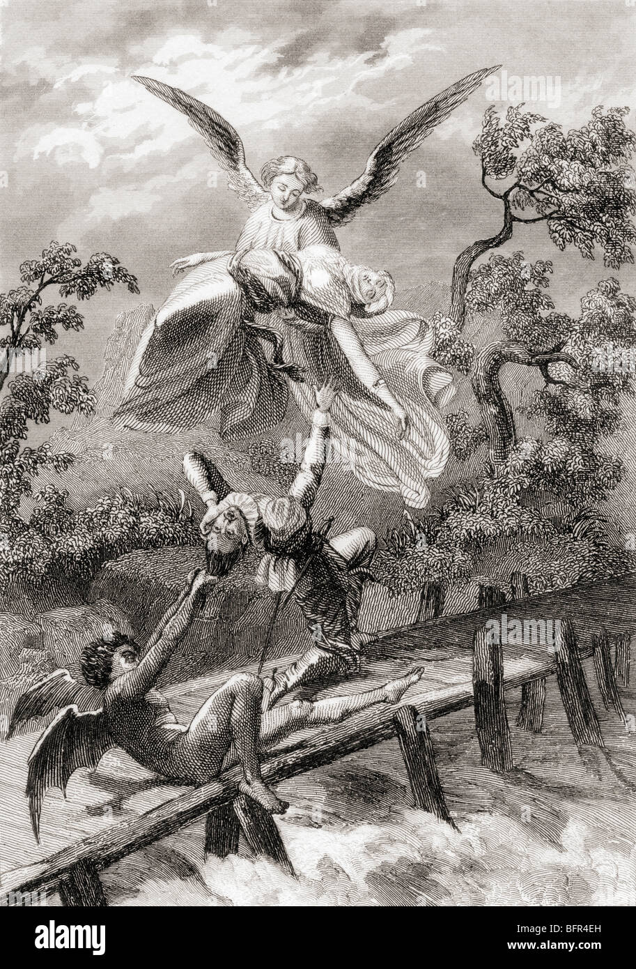 Amina is carried away by an angel whilst the devil captures the Sacristan of Albaicin. - Stock Image