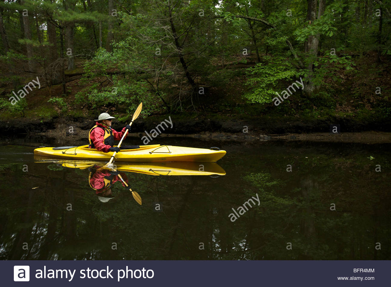 Kayaking down the Assabet River, Concord, MA. - Stock Image