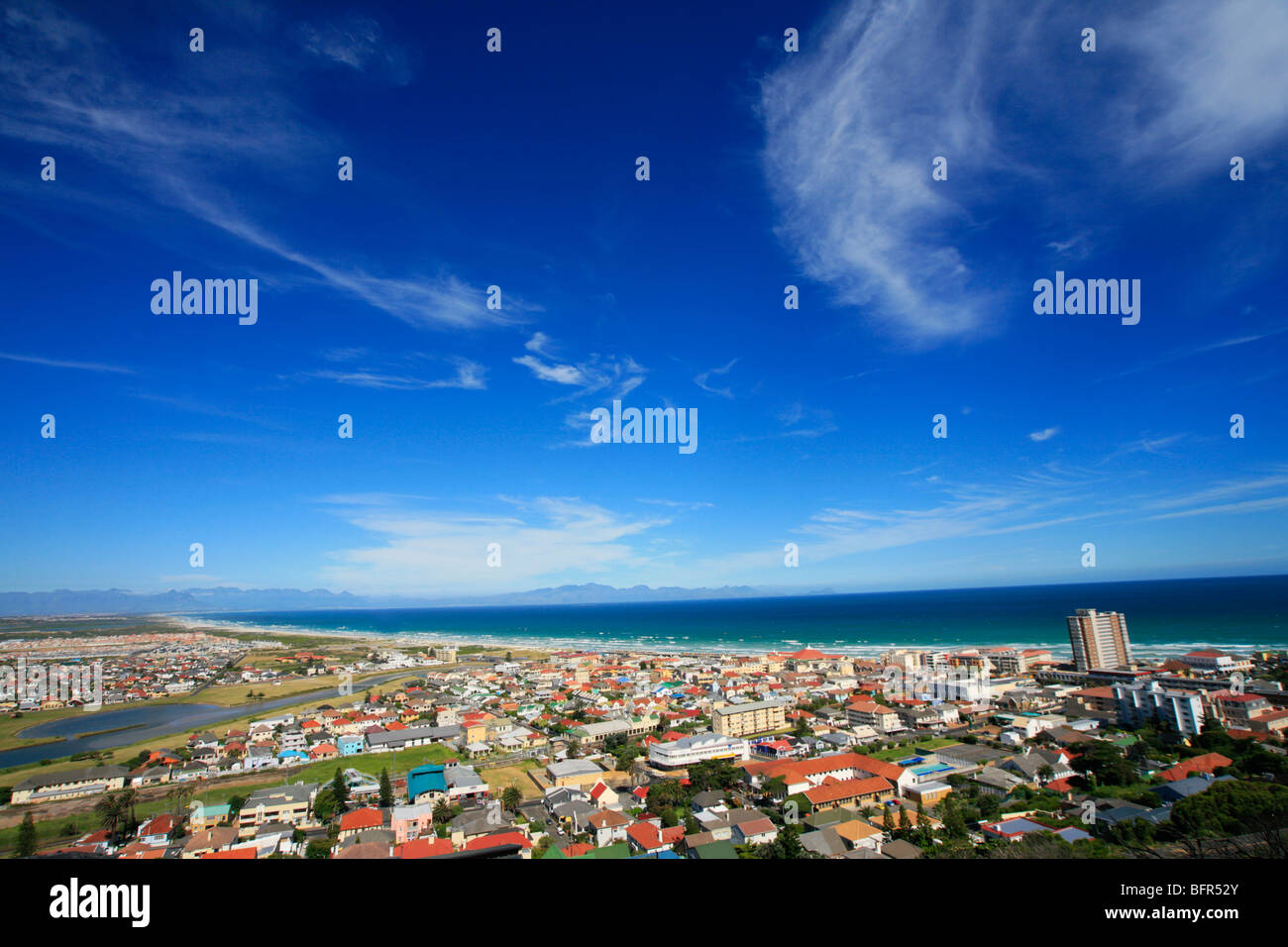Wide angle view over houses of Kalk Bay - Stock Image