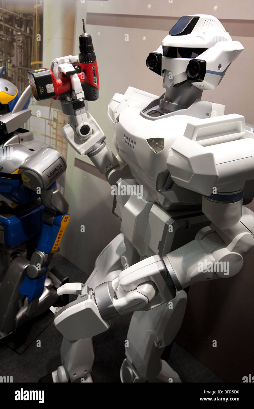 Humanoid robots, produced by Kawada, on display at the International Robot Exhibition 2009, in Tokyo, Japan - Stock Image