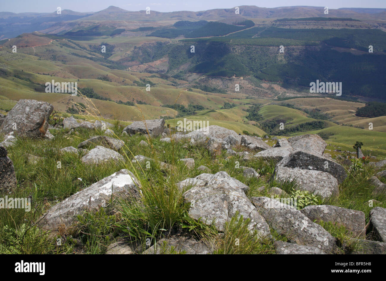 Scenic view of the mountains and valleys from Mount Moody in the Transvaal Drakensberg - Stock Image