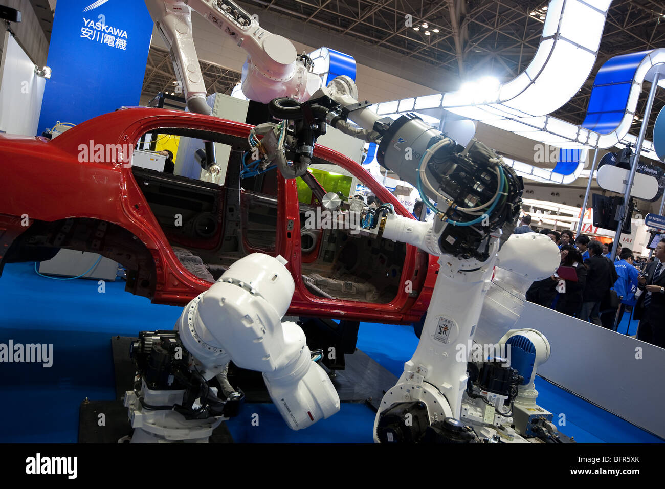 Yaskawa robots for car industry on show at robot fair exhibition, Tokyo, Japan. Stock Photo