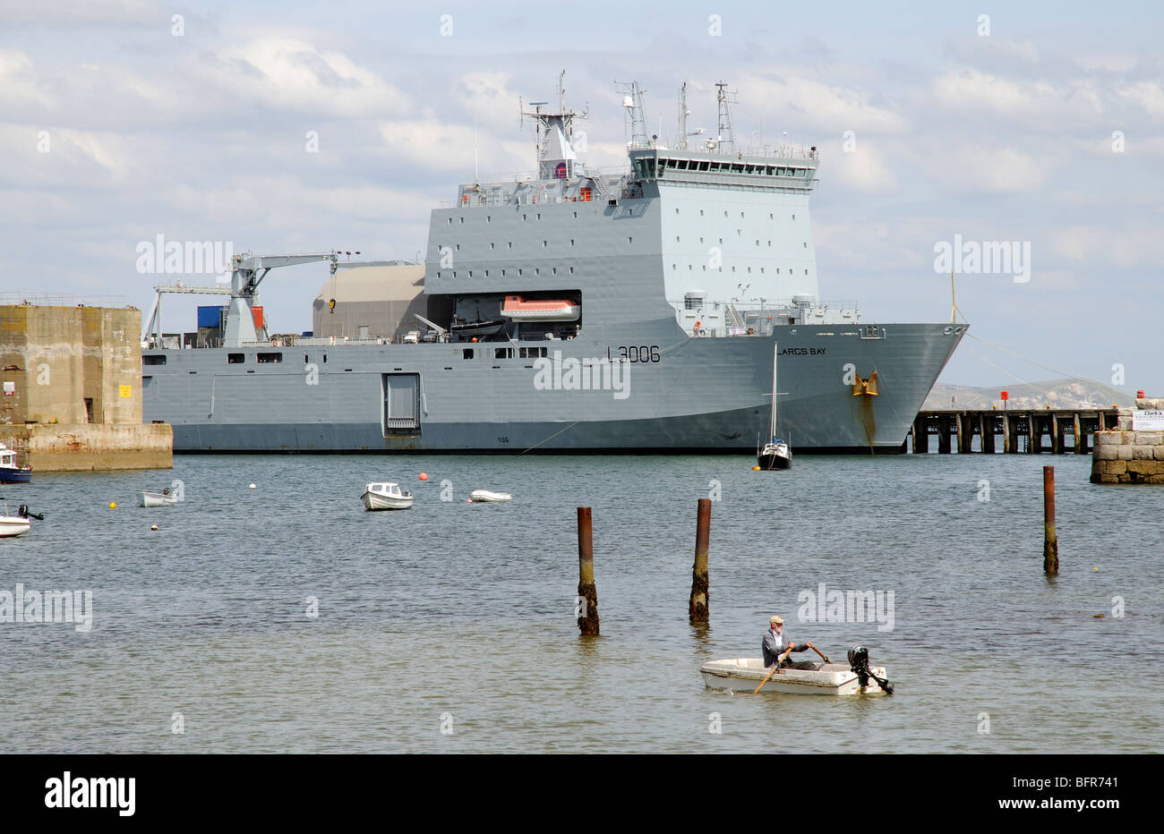 RFA Largs Bay a Royal Fleet Auxiliary ship alongside Portland Harbour Dorset England UK - Stock Image