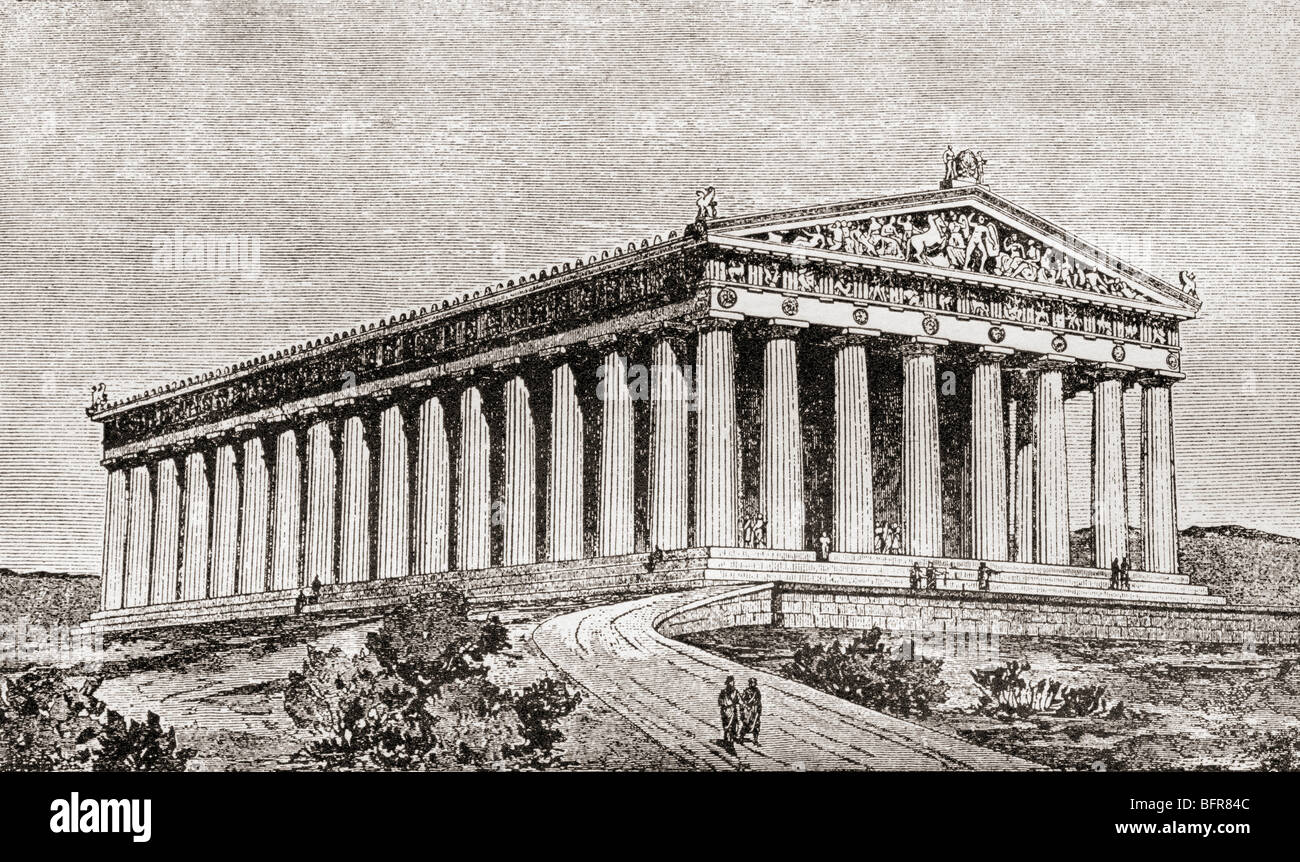 Exterior of the Parthenon at Athens, Greece as it would have appeared in ancient times. - Stock Image