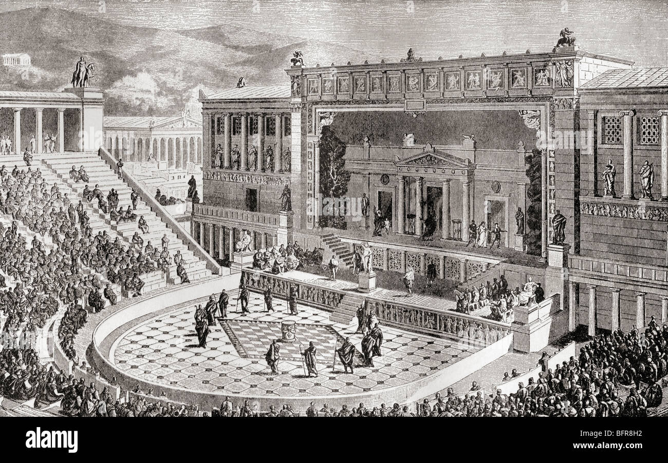 The Theatre of Dionysus, Athens, Greece as it would have appeared in ancient times. - Stock Image