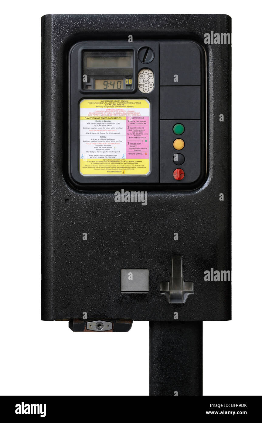 Parking Meter, Oxford, United Kingdom. Stock Photo