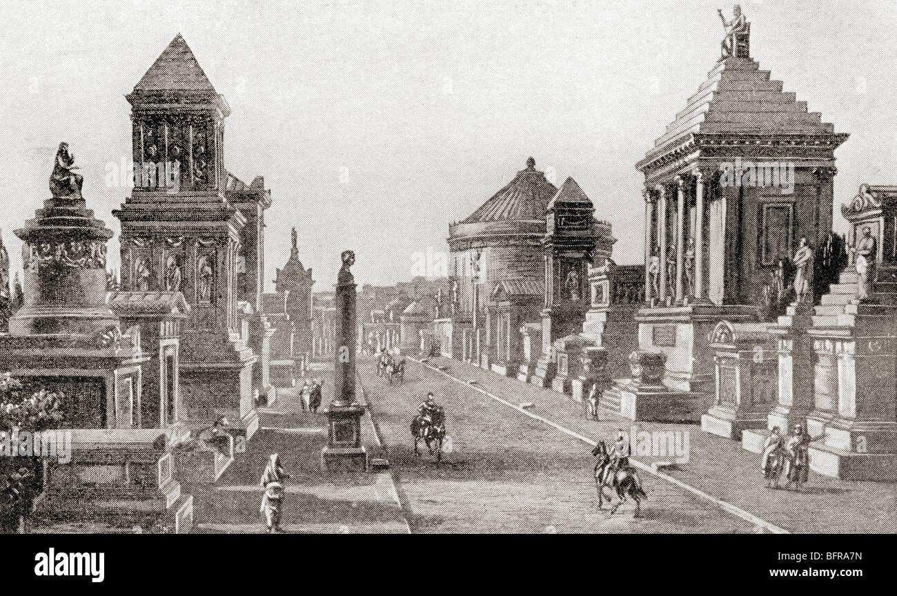 The Appian Way as it would have appeared in ancient times - Stock Image