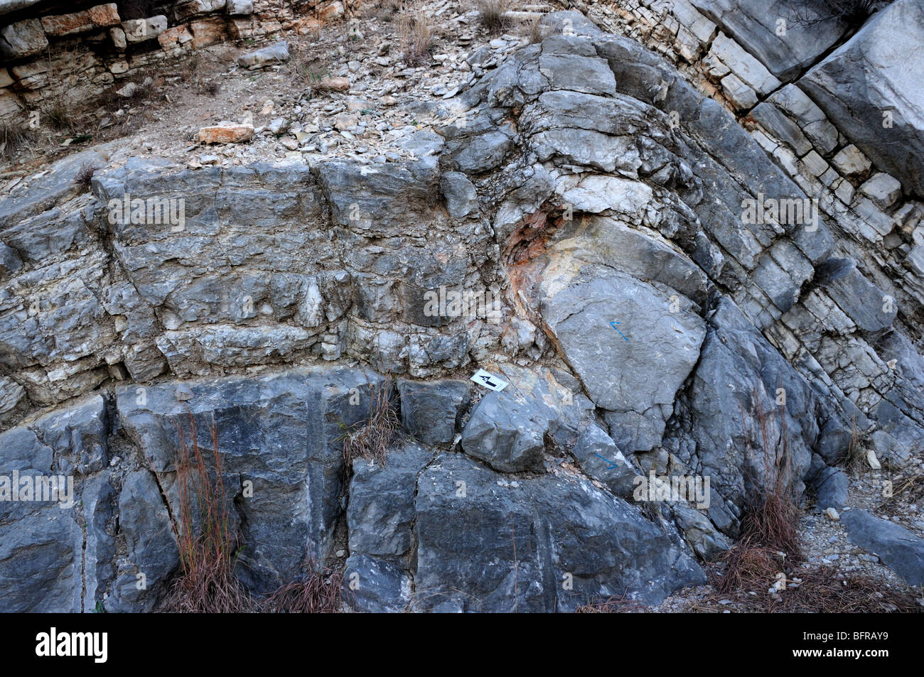 A small anticline with thrust fault. Oklahoma, USA. - Stock Image
