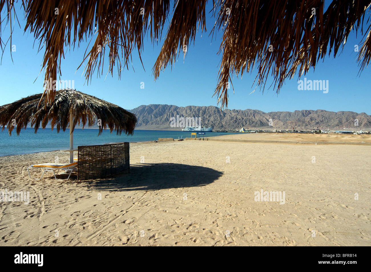 The beach at the Coral Hilton Hotel, Nuweiba, Egypt. - Stock Image