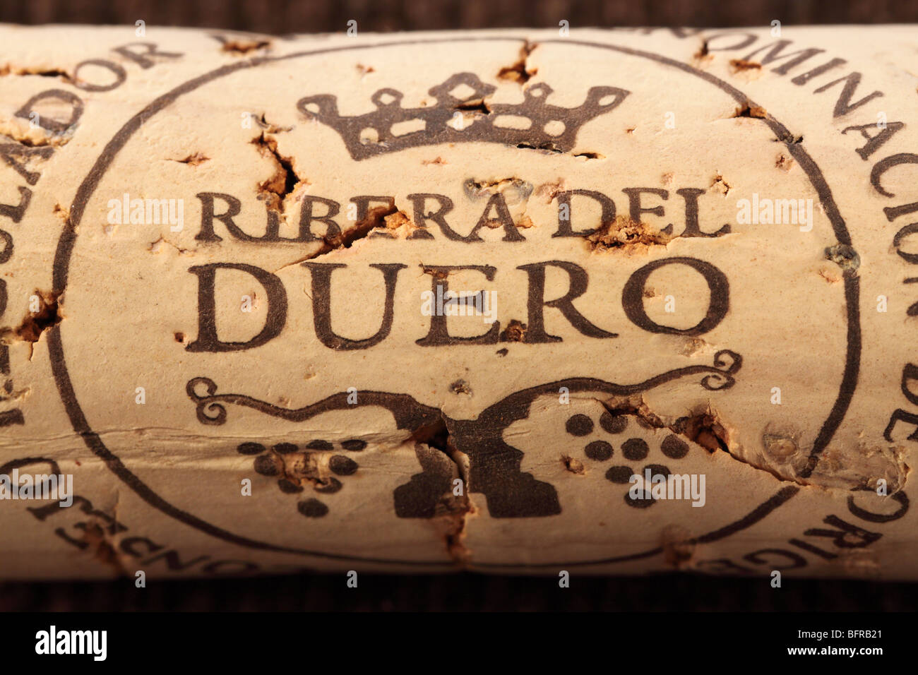 Ribera del Duero wine cork stopper - Stock Image
