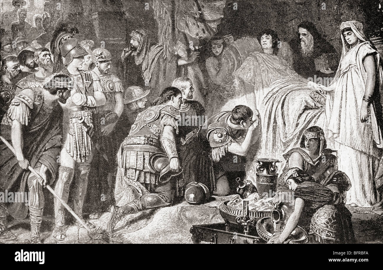 Death of Alexander the Great at Babylon in 323 BC. Alexander III of Macedon aka Alexander the Great, 356 BC – 323 - Stock Image