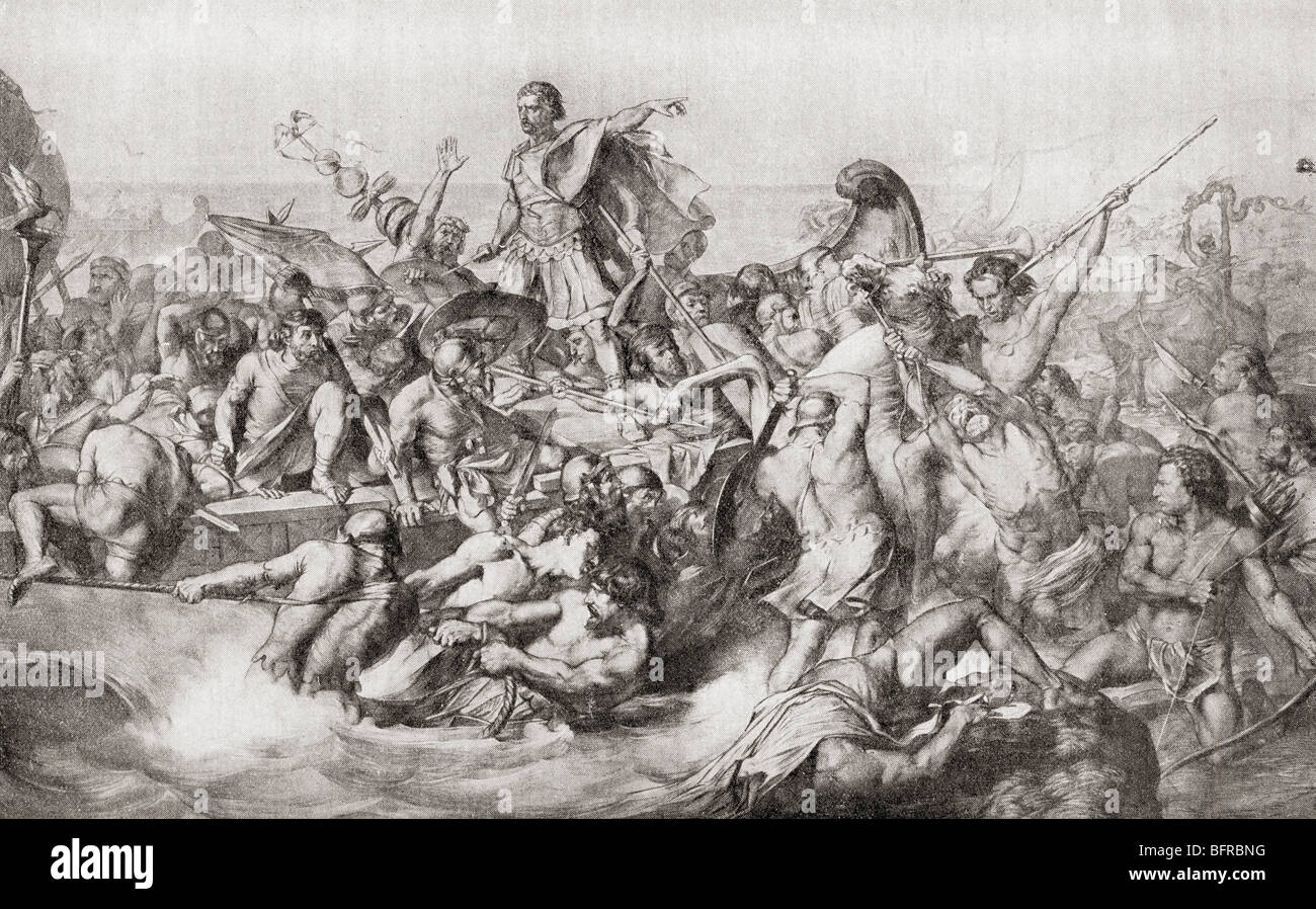 Julius Caesar's first invasion of Britain in 55BC. - Stock Image
