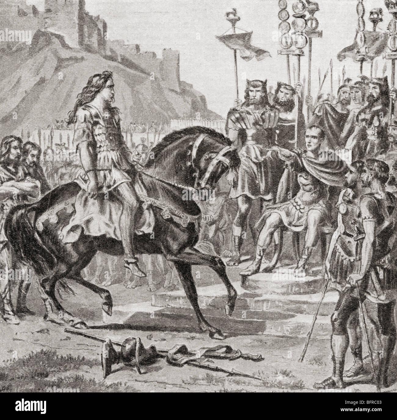 Vercingetorix the Gallic leader throws down his arms before Julius Caesar, 52BC. - Stock Image