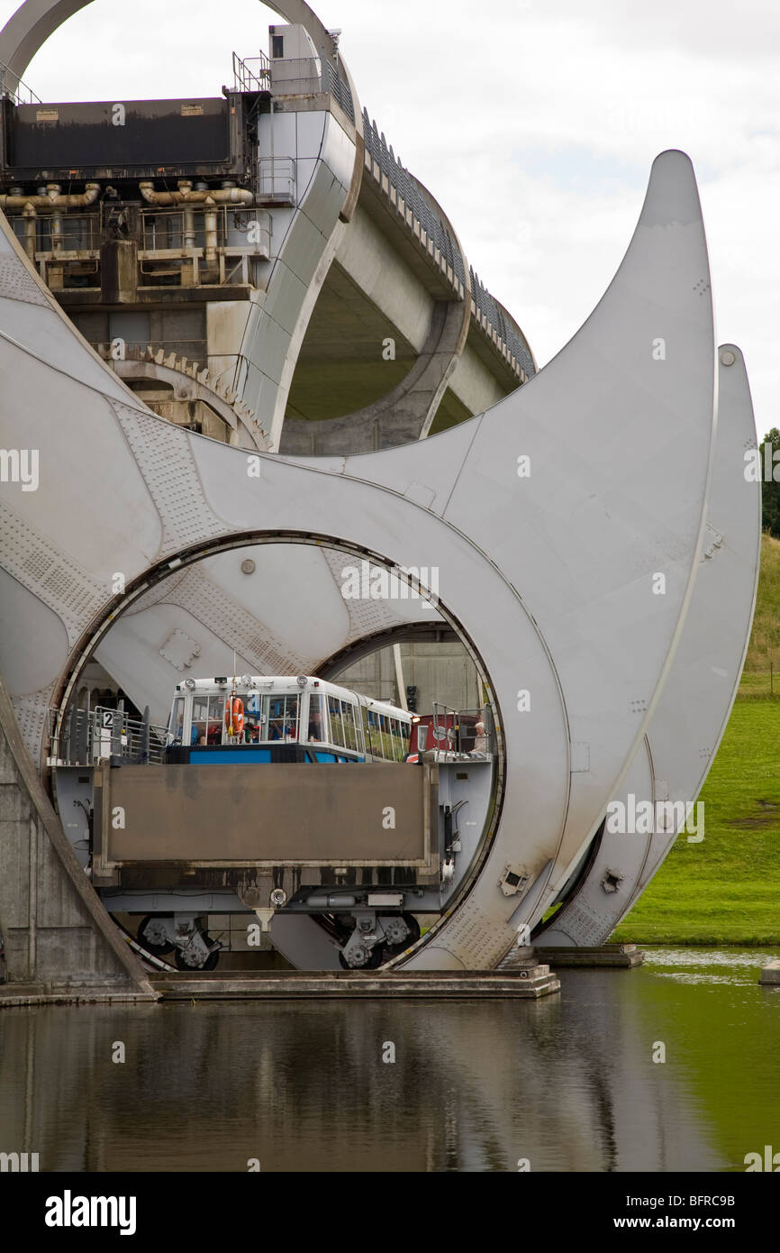 Falkirk Wheel linking the Union Canal with the Forth and Clyde Canal , Falkirk, Scotland - Stock Image