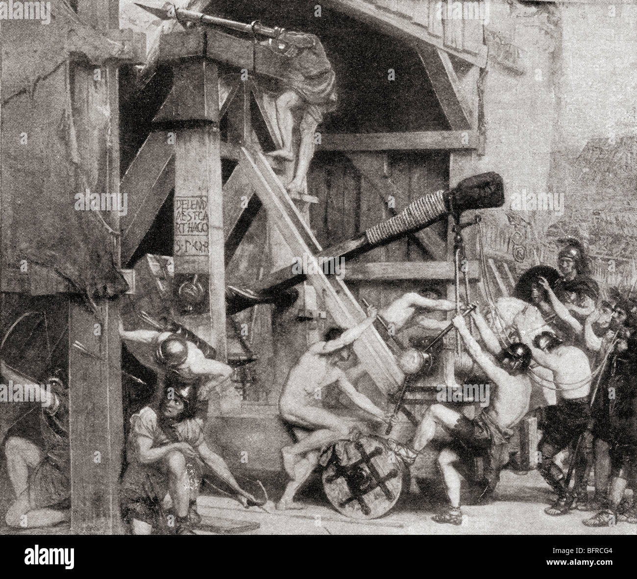 The catapult as a great engine of war in ancient Rome - Stock Image