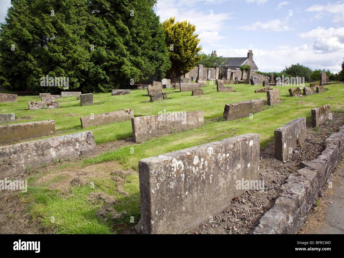 Sunken gravestones in Clackmannan Parish Church, Scotland - Stock Image
