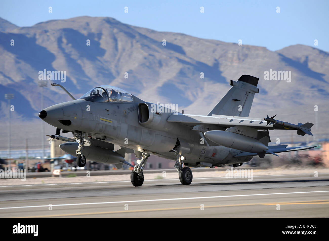 An Italian Air Force AMX fighter landing at Nellis Air Force Base in Nevada. - Stock Image