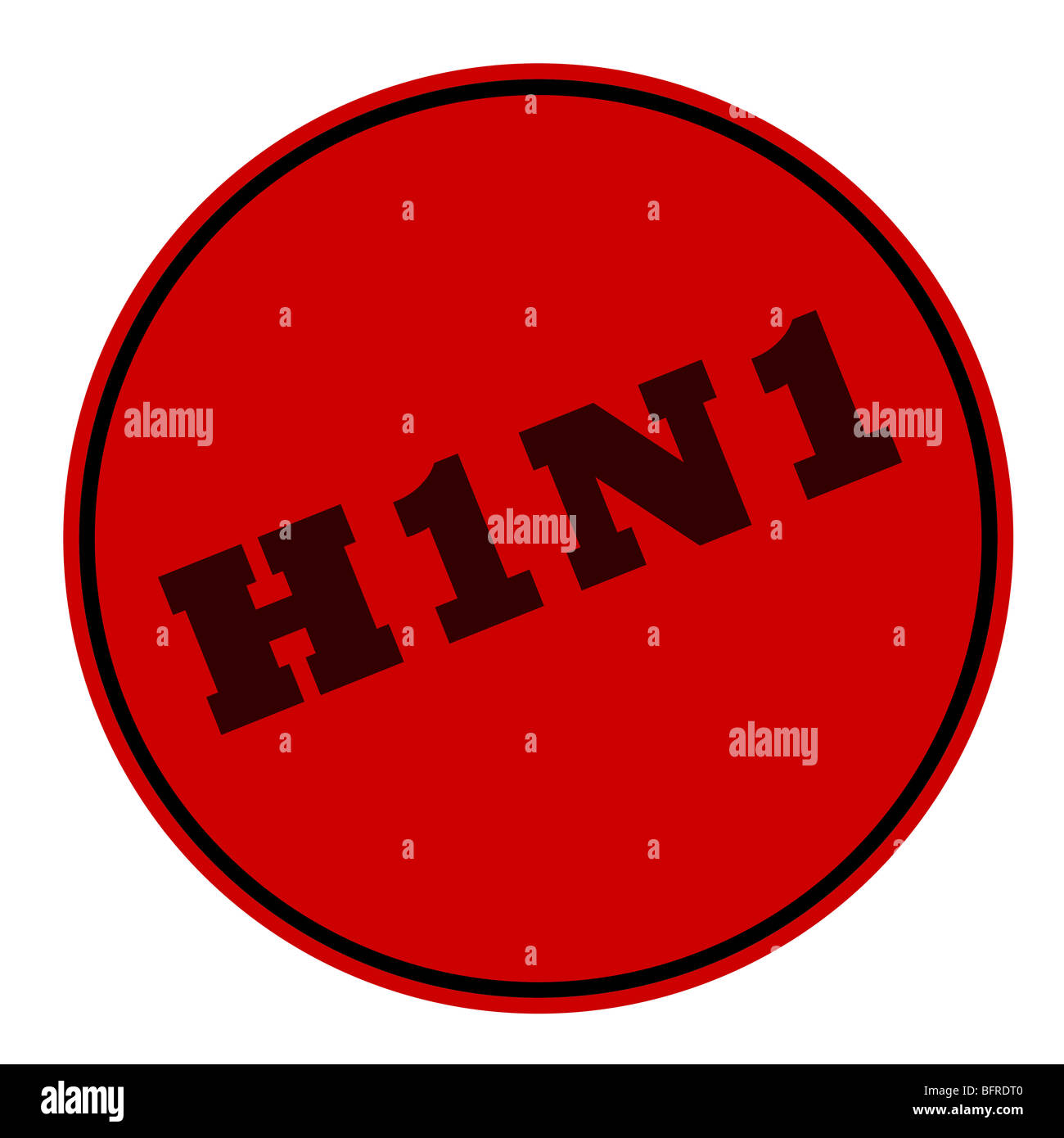 Red H1N1 Swine Flu stamp isolated on white background. - Stock Image