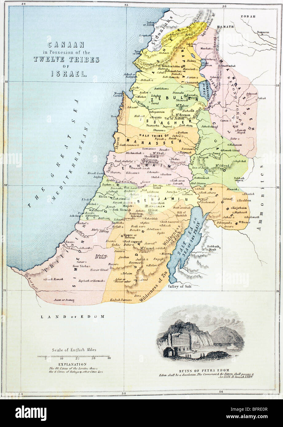 Canaan, or Palestine, as it was divided between the twelve tribes of Israel. - Stock Image