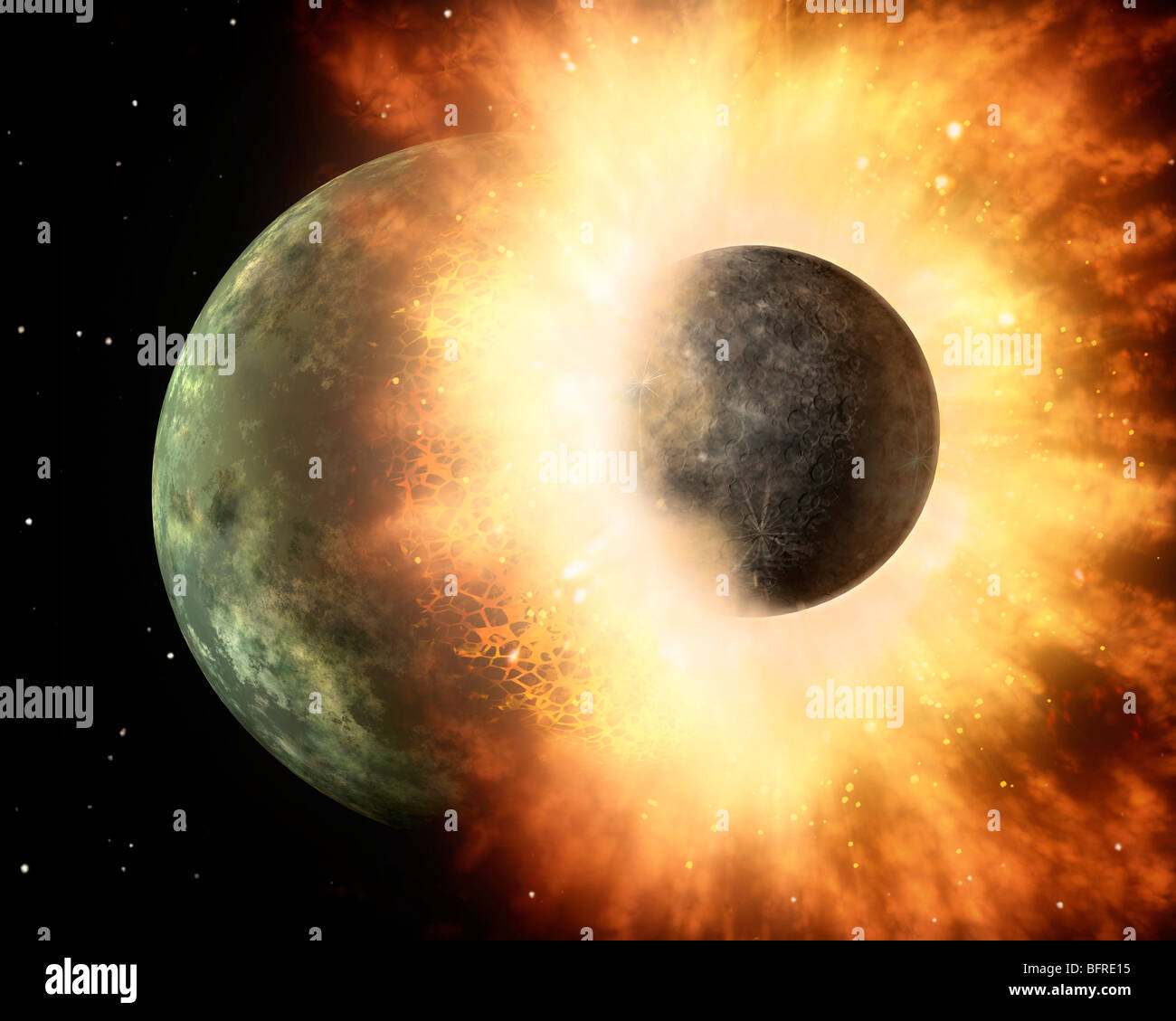 Artist's concept of a celestial body colliding into a planet sized body. - Stock Image