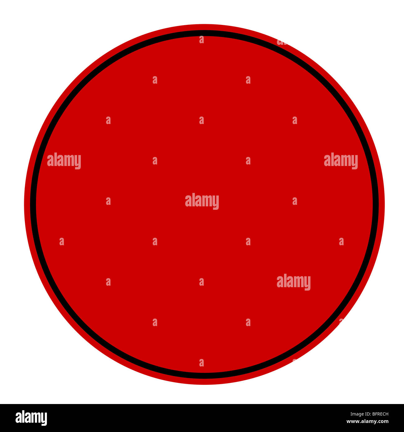 Blank circular red stamp isolated on white background. - Stock Image
