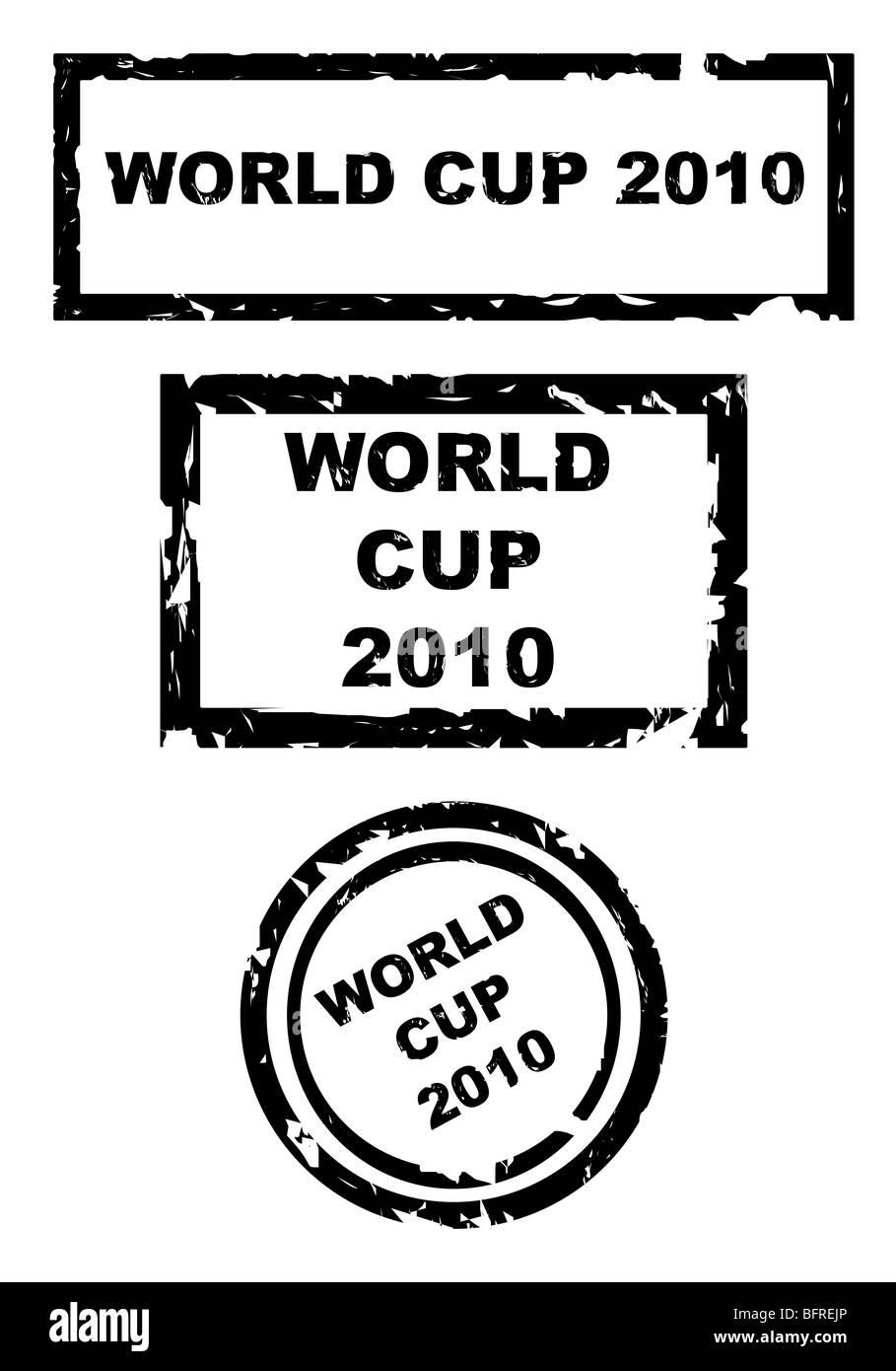 Used world cup football 2010 stamps isolated on white background. - Stock Image