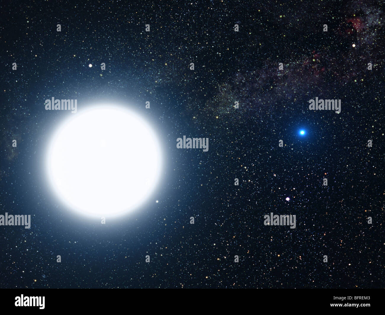 Artist's concept showing the binary star system of Sirius A and Sirius B. - Stock Image
