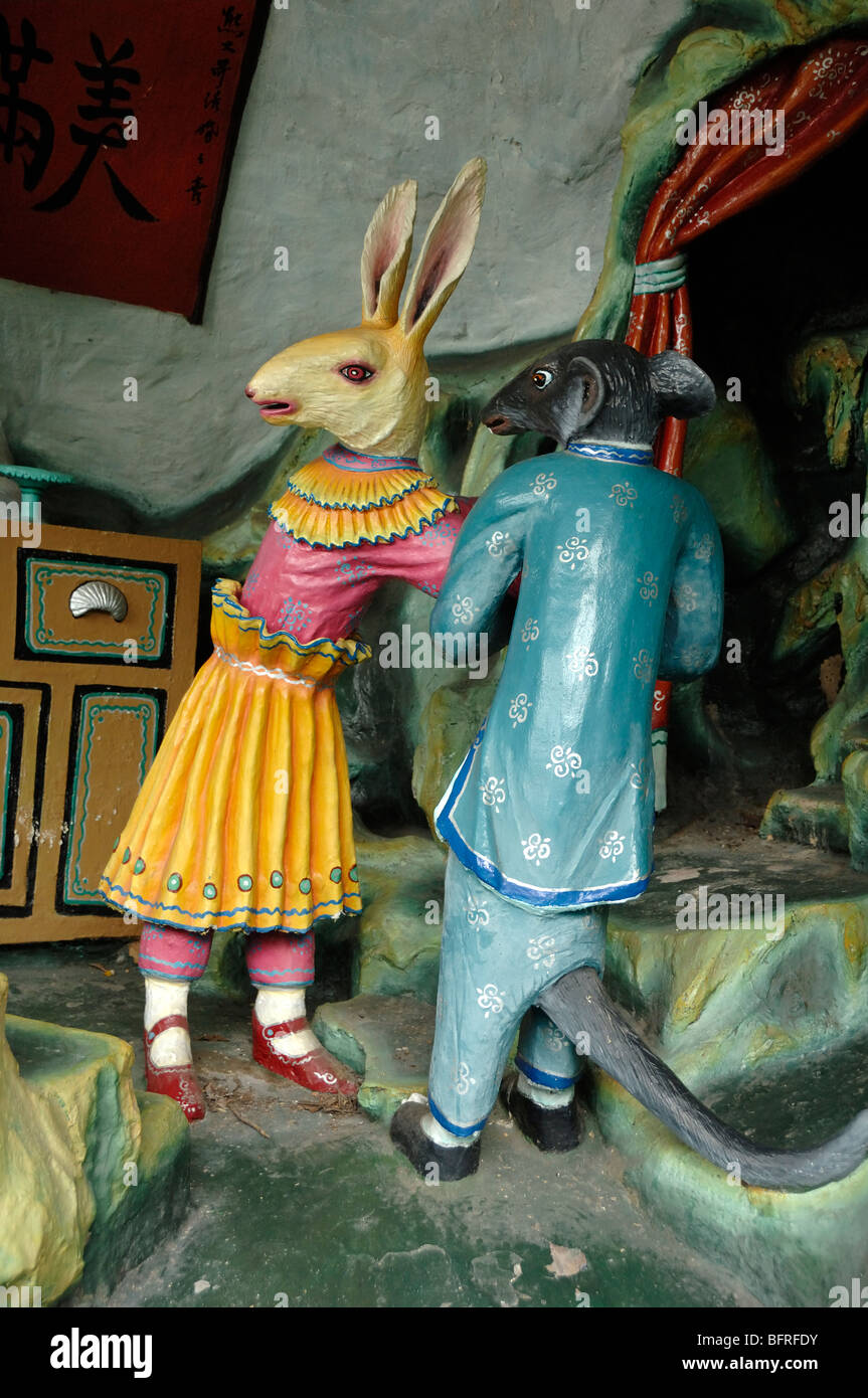 Amorous Rat and Rabbit Story or Folk Tale, a Chinese Love Story, Tiger Balm Gardens Chinese Theme Park, Singapore - Stock Image