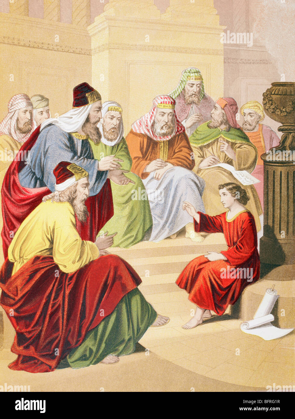 The boy Jesus debating with priests and teachers in the temple - Stock Image