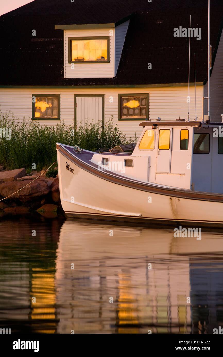 fishing boat and sheds, Stanley Bridge, Prince Edward Island, Canada Stock Photo