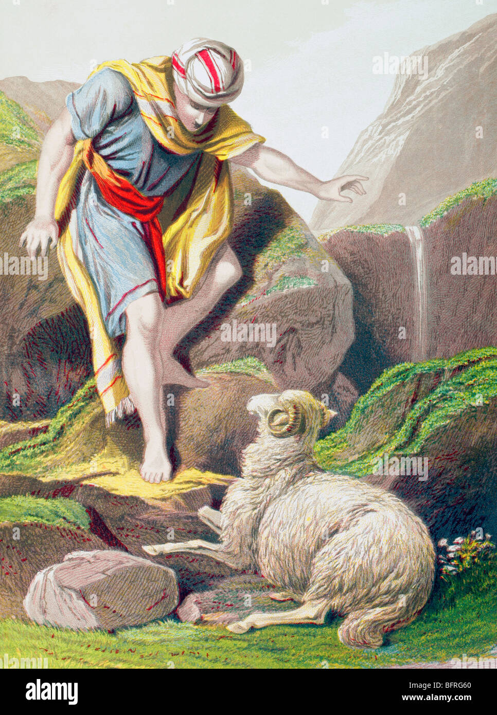 The parable of the lost sheep. - Stock Image