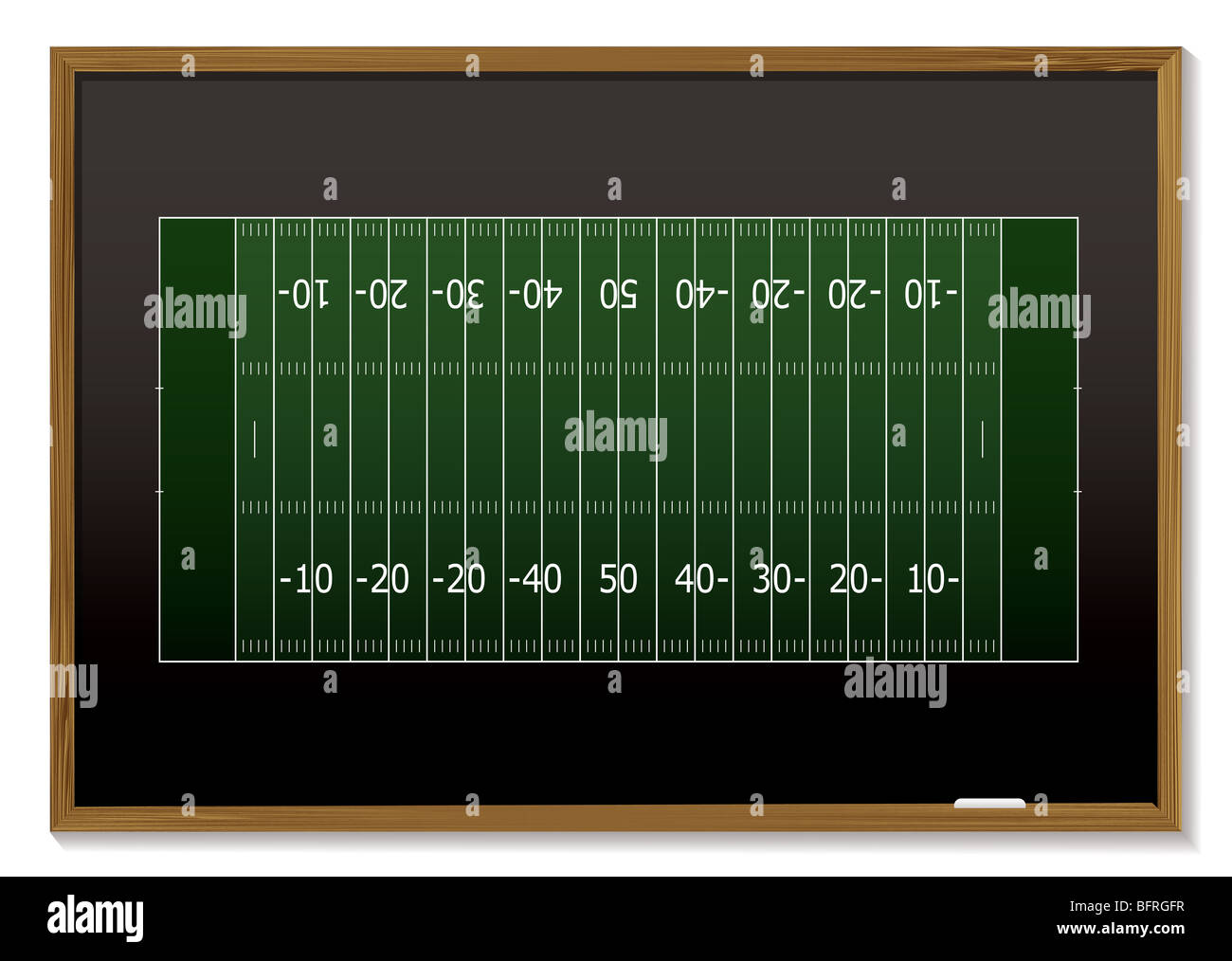 american football field with chalk markings on black board stock