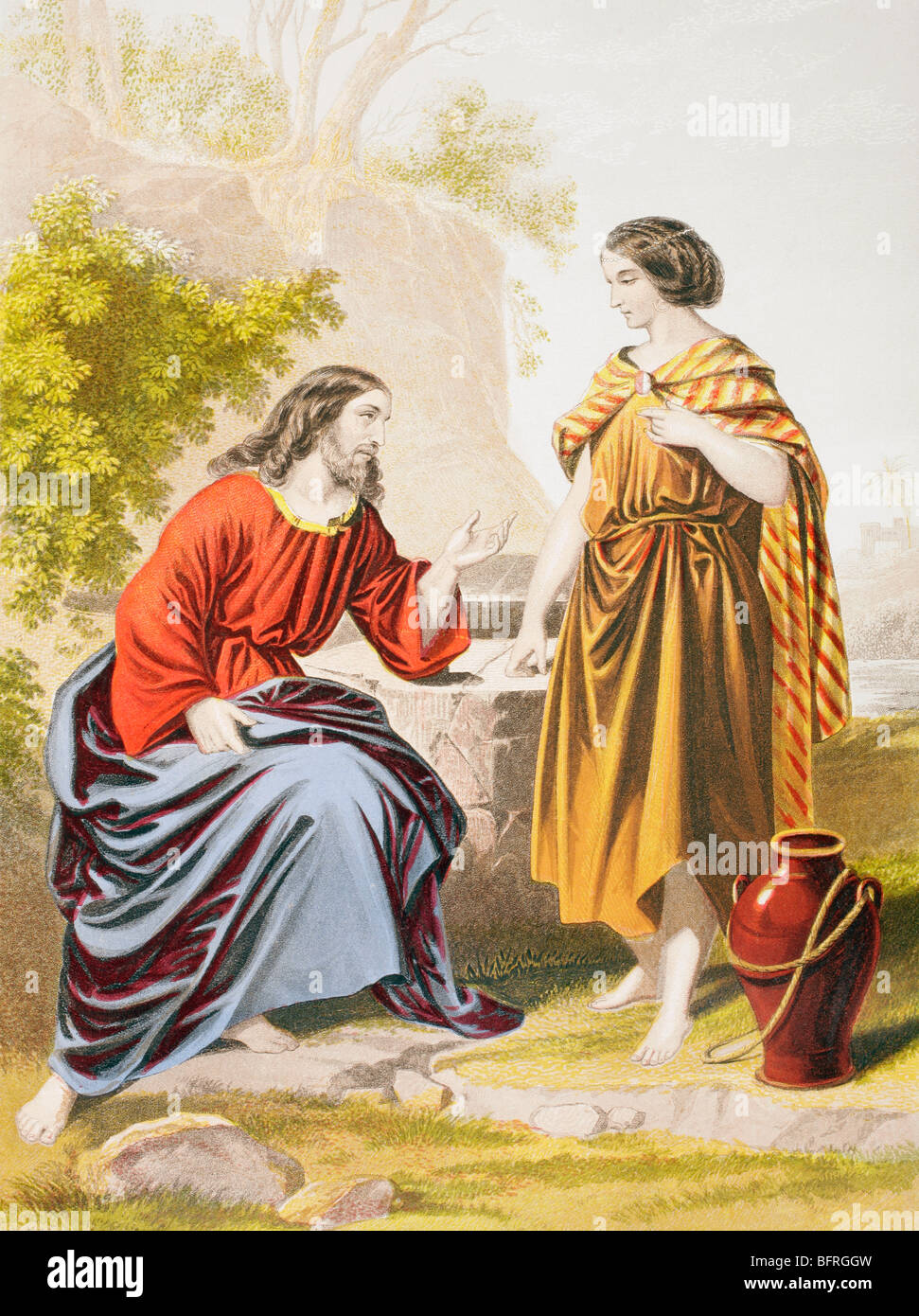 Jesus at the well with the woman of Samaria. - Stock Image