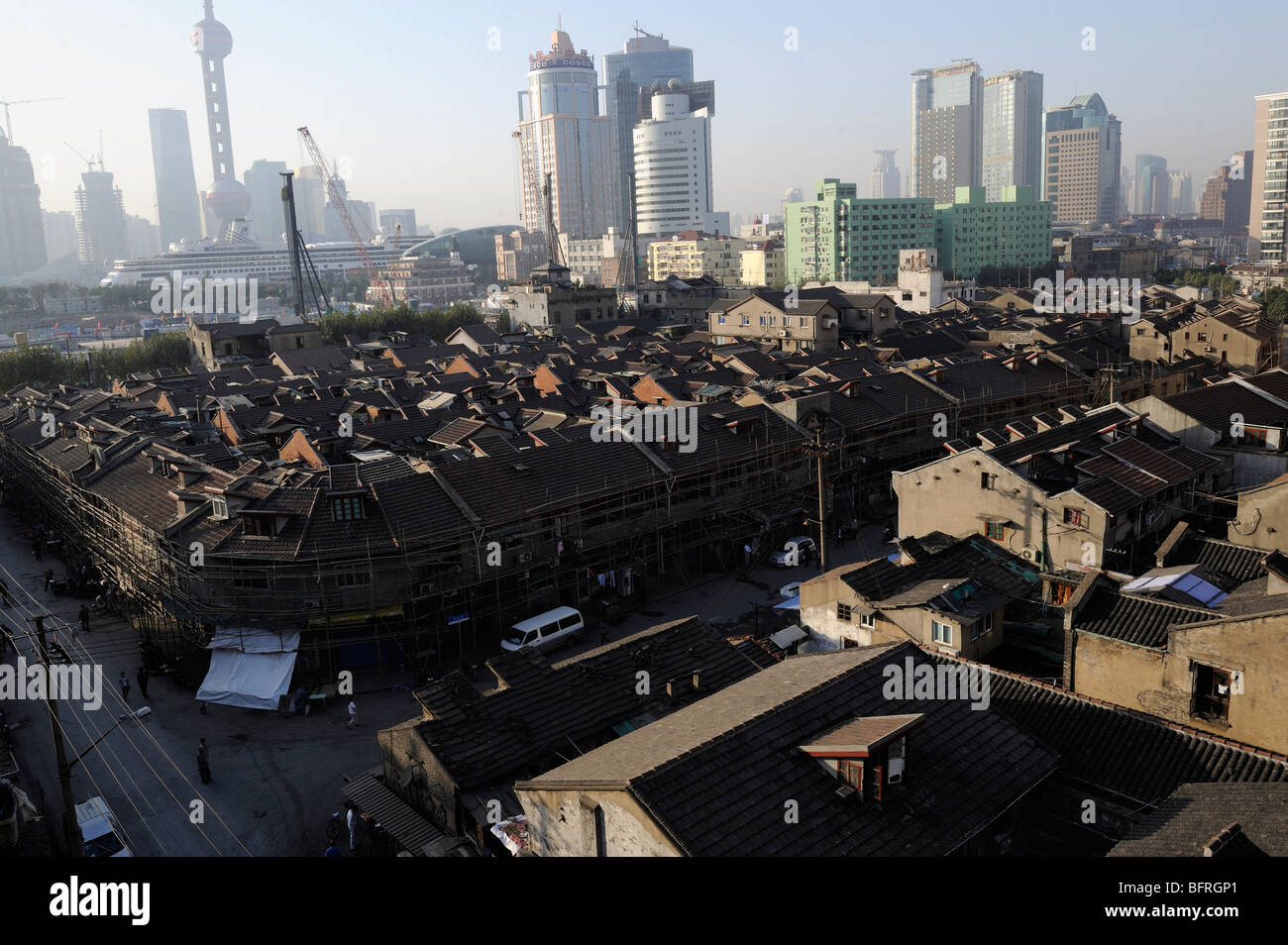 Old traditional houses in Hongkou District of Shanghai will soon be demolished for property development.21-Oct-2009 - Stock Image