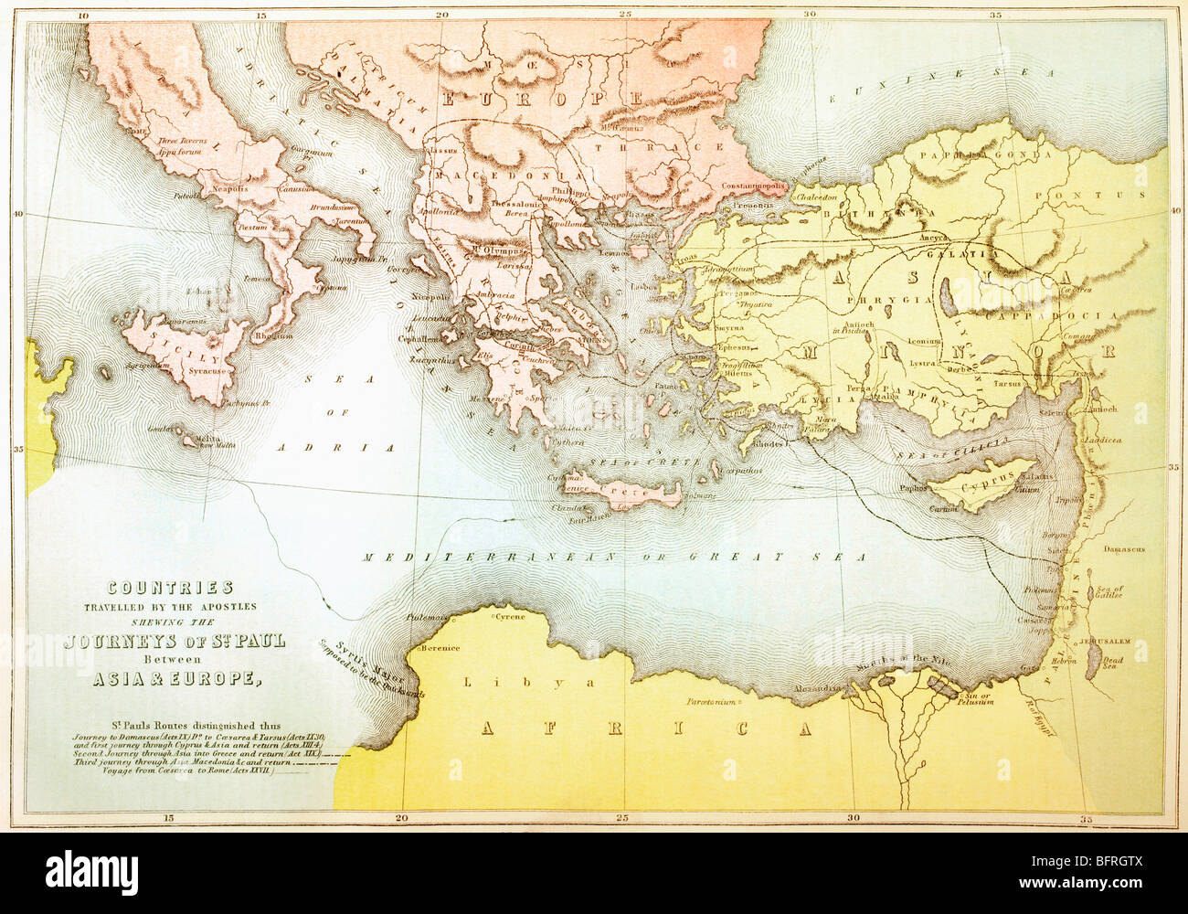 Countries travelled by the apostles and showing the journeys of St Paul between Asia and Europe. - Stock Image