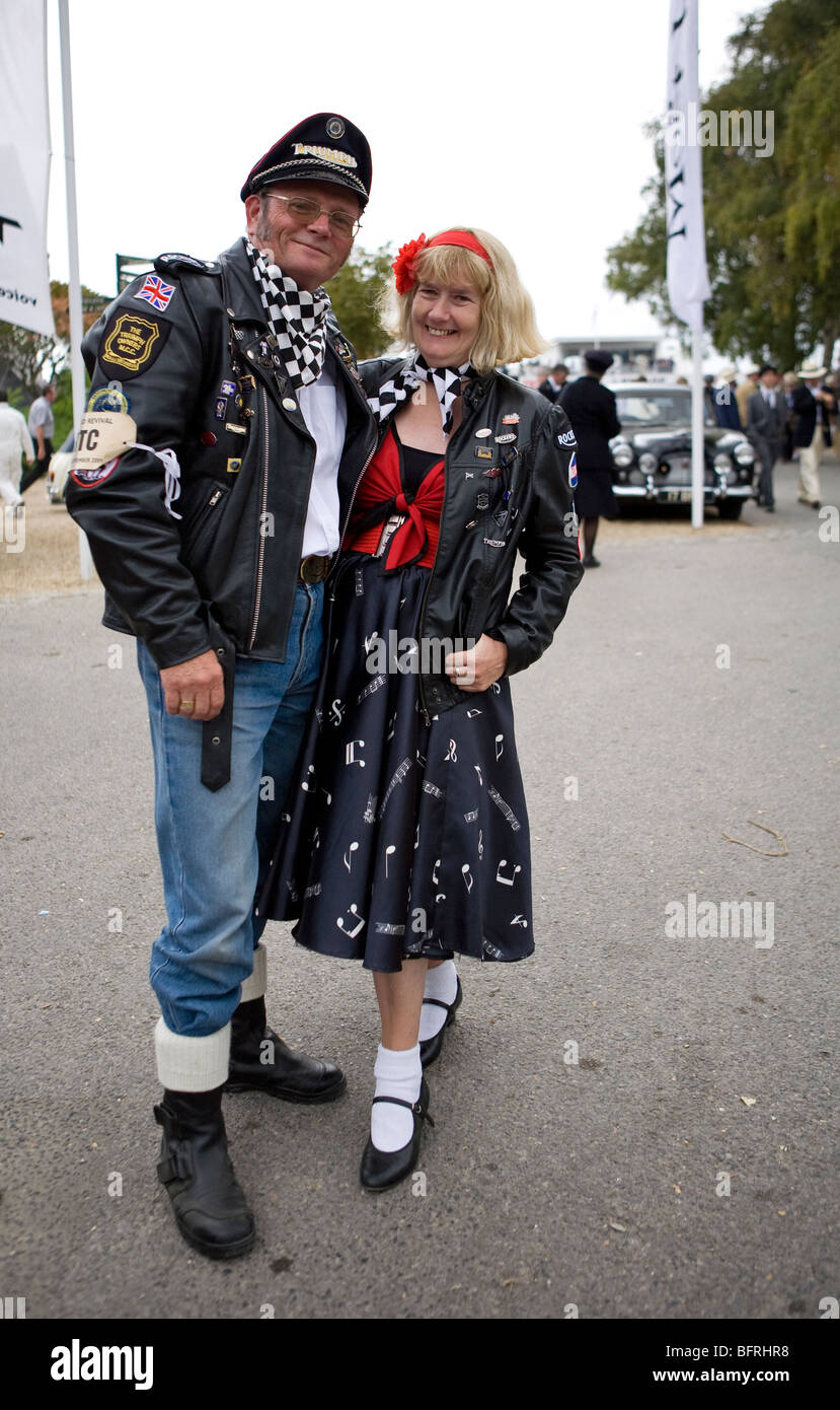 couple dressed in biker and rockabilly style at goodwood revival stock photo 26949084 alamy. Black Bedroom Furniture Sets. Home Design Ideas